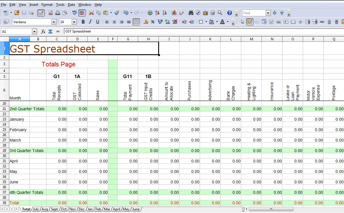 Simple Gst Spreadsheet Australia Business Activity